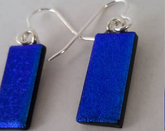 Blue-Dichroic Glass Drop Earrings 925 Silver P/T