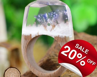 Snow Flower blossom ( Handmade Wooden Resin Ring. Wood Resin Ring.  Wood jewelry. with Magnificent Tiny Fantasy Secret Landscape )