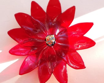 Fused Glass, Red Flower Ornament/Trinket Dish