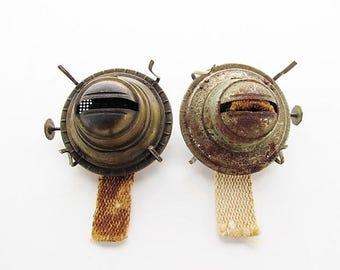 2 Vintage Eagle Oil Lamp Burner Parts / Flip Top, Prong Type