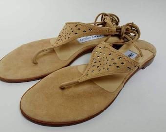 Vintage Jimmy Choo suede sandals straps