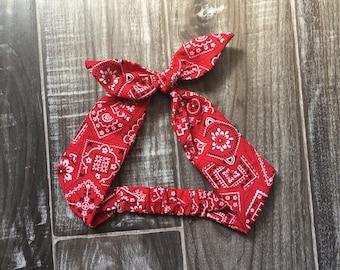 Red Banana Headband - Bandana Headband - Baby Bandana Headband - Rockabilly Headband - Pinup Headband - Pin Up Accessories - Pin Up