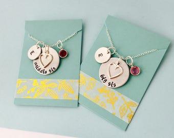 Big Sister Necklace, Middle Sistet, Little Sister Necklace, Personalized Necklace Set, Sister Necklace Set, Matching Necklaces