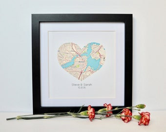 Couples Map Art- Engagement Location Gift, Map Theme Wedding Gift, Housewarming Gift for New Home, Moving Gift, Framed Map Art for Newlyweds