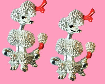 The Adorable Poodles Sisters! Vintage 1980s 2 Poodles Brooches 1 Price!!!