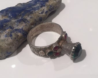 Antique Silver Ring-SIZE 8.5  glass silver ring/vintage Shop/Gypsy/silver/tribal ring women ring/men ring NJR982