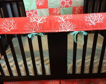 Made to Order Custom Baby Bedding in coral and mint, nautical theme with coral reef
