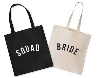 Bride Squad Wedding Tote Bag Hen Party Do Gift Wifey Bridesmaid Squad Matching Set