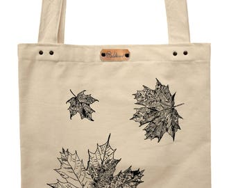 Maple leaves - hand printed cotton tote bag