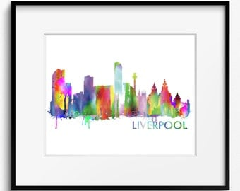 Liverpool Skyline Watercolor Art Print (642) Cityscape England United Kingdom