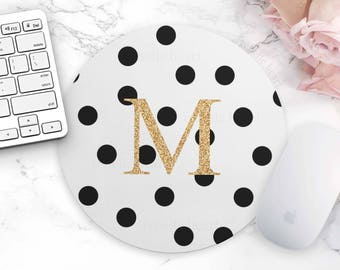Dot White Mouse Pad, Personalized Mouse Pad, Monogram Mouse Pad, Cute Desk Accessories, Gold Mouse Pad, Polka Dot, Cubicle Accessories,Decor