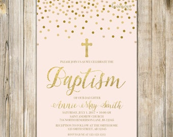 Blush PINK and Gold BAPTISM Invitation, Printable Girl Baptism Invite, Baby Girl Holy Communion, Christening Christian LDS, Digital LA20