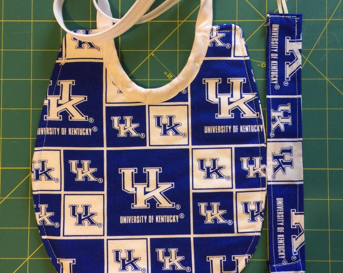 Baby Bib University of Kentucky Wildcats Gift Set Baby Bib and Pacifier Clip: 2 Fabric Design Choices!