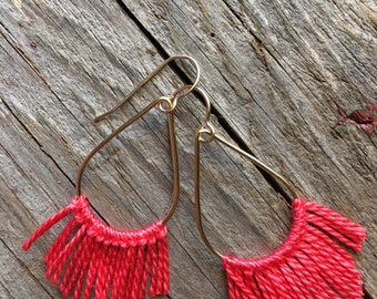 Coral Red Fringe Earrings