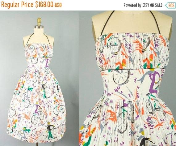 SALE 15% STOREWIDE 1950s novelty print cotton sundress/ 50s bicycle print halter/ L'aiglon/ extra small xs