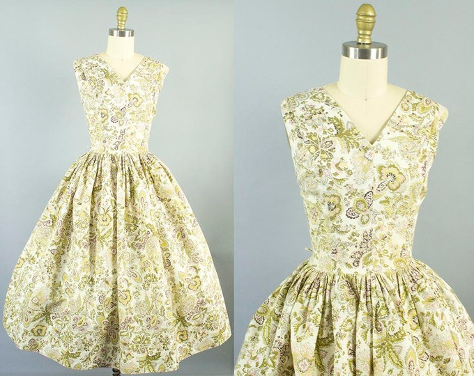 1950s floral sundress/ 50s rhinestone cotton dress/ medium