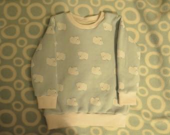 Baby Jumper, Polar Bear Jumper, Christmas Jumper, Fleece Backed Jumper , Mint Polar Bears, Size 1 Year, Baby Sweater, Polar Bear Sweater,