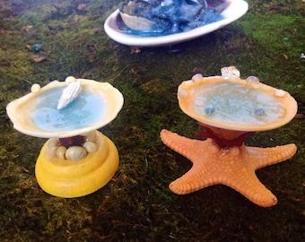 Miniature Fairy Garden Bird Bath Miniatures  Handmade Nautical Themed Fairy/ Hobbit Garden Bird Bath Miniature Garden Art Fairy Accessories