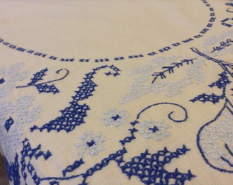 Blue & White Cross Stitched Tablecloth