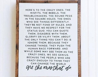 Here's to the Crazy Ones    wood home decor
