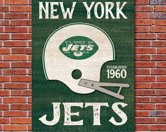 New York Jets - Vintage Helmet - Art Print - Perfect for Mancave