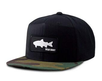 Camo fish hat etsy for Fishing snapback hats