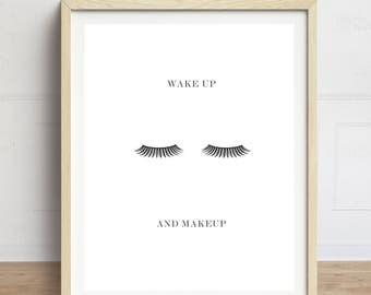 Eyelashes Print, Wake up and Makeup, Makeup Print, Makeup Art, Minimalist Art Print, Bathroom Art