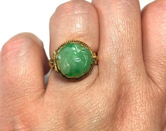 Antique Jade Ring - Jade Poison Ring -  Antique Carved Floral Pattern Jade (Over 100 Years Old) Gold Plated Sterling Silver Locket Ring