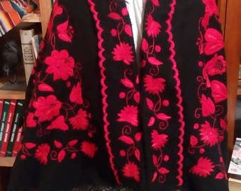 Vintage Black Shawl with Red Crewell Roses..Black lace & Tassels..One of a Kind