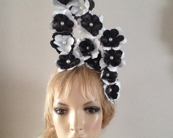black & white leather fascinator hat,tiara adorned with sumptuous pearls with headband mount.