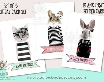 Birthday card, Birthday card, cat card, bunny card, greeting card, cute animal birthday card, set of 3 cards, birthday gift