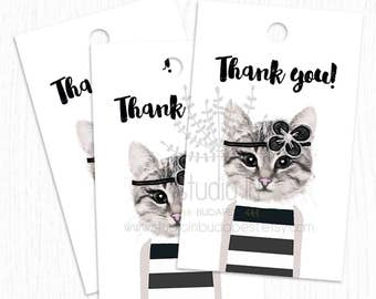 CAT THANK you  TAG, birthday thank you tags, printable favor tags, baby shower thank you tag, cat tag, cat thank you card, cat favor tags