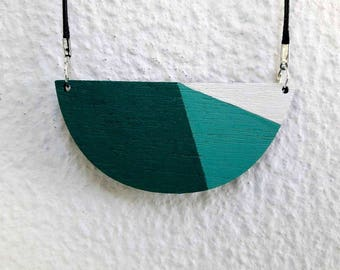 Geometric Necklace, Geometric Jewelry, Wooden Necklace, Wooden Jewelry, Statement Necklace, Colorful Necklace, Gifts under 20, Gift for Her