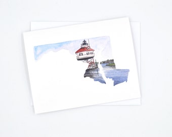 Maryland Notecard - Watercolor Notecard - Maryland Lighthouse Greeting Card - Chesapeake Bay - Blank Notecard - Drum Point Lighthouse