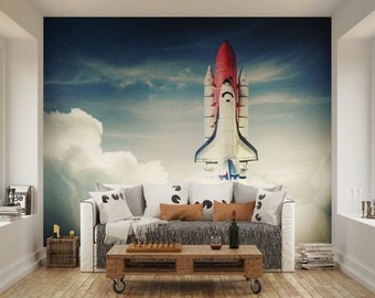 Photo Wallpaper Wall Murals Space Shuttle Taking Off Space Wall Decals  Bedroom Decor Home Design Wall