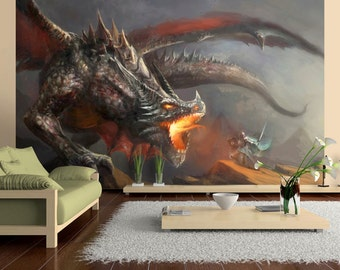 Photo Wallpaper Wall Murals Non Woven 3D Dragon Fire Modern Art Wall Decals  Bedroom Decor Home