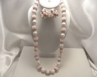 Vintage Vendome Signed Red & White Flower Capped Bead Necklace, Earring Demi Set
