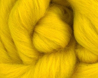 Merino Wool Combed Top/Roving by the Ounce or by the Pound - Golden Yellow