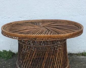 SOLD//Oval Woven Wicker Coffee Table