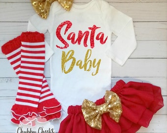 baby girls christmas outfit. first christmas. santa baby.glitter outfit.