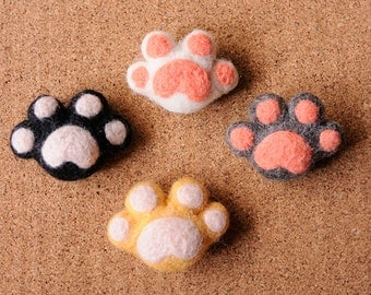 Handmade Needle Felted Cat Paws Pin / Bag Charm