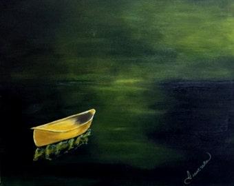 Acrylic Painting of Seascape, Handmade, Original, Acrylic Canvas Painting-Wall art-Boat,Dingy,Dory, Seascape, Dark Green,water,green