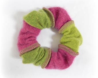 Striped Scrunchie, Cashmere Scrunchy, Soft Hair Elastic, Hairband, Pink Green Scrunchy, Ponytail Holder, Upcycled, Recycled, Eco Accessories