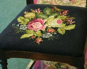 "Victorian Upholstery Fabric - Black Floral Pattern - 27"" x 23"" - Woven Square"