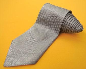 Salvatore Ferragamo Tie Woven Silk Lattice Theme Pattern Gray Vintage Designer Dress Necktie Made In Italy