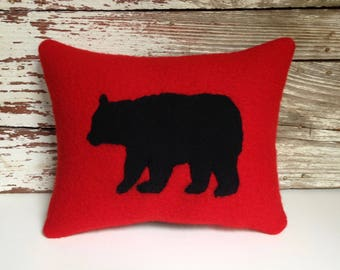 bear pillow/vintage camp blanket pillow