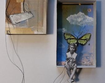 """Art box:petit diorama original à accrocher.""""Mariette"""".Petite fille en équilibre.""""Les funambules""""."""