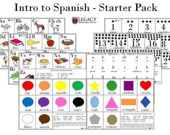 Spanish Homeschool Starter Kit - Preschool Spanish Learning set, Dual language materials, Spanish English Practice