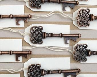 50 Copper Vintage Key Bottle Openers with tags - Antique Key Beer Openers - Skeleton Key Bottle Openers - Bottle Opener Wedding Favor