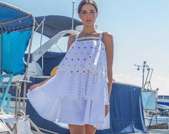 White Ruffle Women Dress Designer Knee Lenght Chic Fashion Casual Prom Rustic Sarafan Boho Mini Dress Volant Eyelet Cotton Free Ship